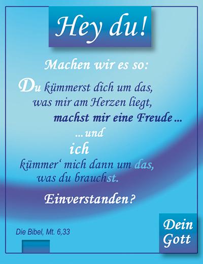 Hey du!- Karte, Mt 6,33, Matthäus 6,33, Hey du! Machen wir es so ... - Dein Gott. // TExt u. Design: Ideesamkeit.de